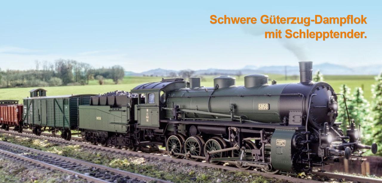 Schwere Güterzug-Dampflok mit Schlepptender