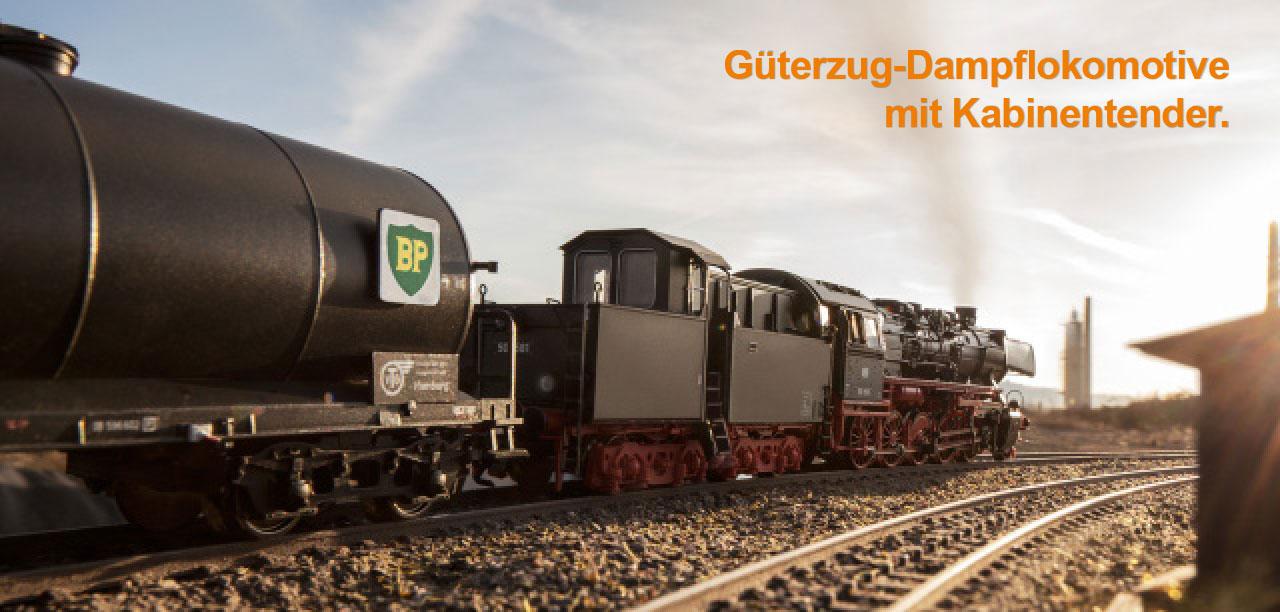 Güterzug-Dampflokomotive mit Kabinentender.